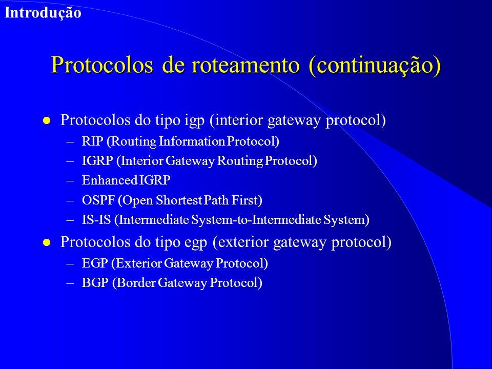 Protocolos de roteamento (continuação) l Protocolos do tipo igp (interior gateway protocol) –RIP (Routing Information Protocol) –IGRP (Interior Gateway Routing Protocol) –Enhanced IGRP –OSPF (Open Shortest Path First) –IS-IS (Intermediate System-to-Intermediate System) l Protocolos do tipo egp (exterior gateway protocol) –EGP (Exterior Gateway Protocol) –BGP (Border Gateway Protocol) Introdução