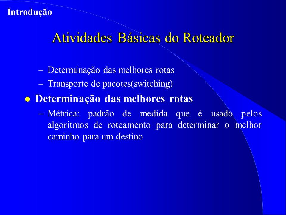 Atividades Básicas do Roteador –Determinação das melhores rotas –Transporte de pacotes(switching) l Determinação das melhores rotas –Métrica: padrão de medida que é usado pelos algoritmos de roteamento para determinar o melhor caminho para um destino Introdução