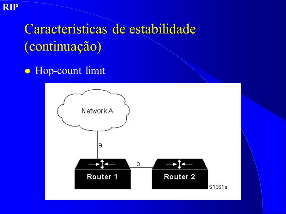 Características de estabilidade (continuação) l Hop-count limit RIP