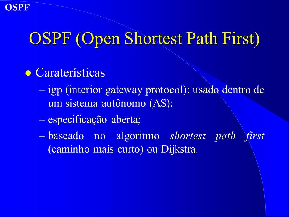 OSPF (Open Shortest Path First) l Caraterísticas –igp (interior gateway protocol): usado dentro de um sistema autônomo (AS); –especificação aberta; –baseado no algoritmo shortest path first (caminho mais curto) ou Dijkstra.