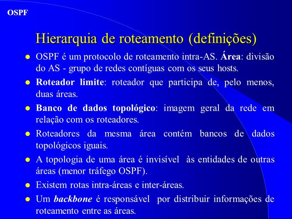 Hierarquia de roteamento (definições) l OSPF é um protocolo de roteamento intra-AS.