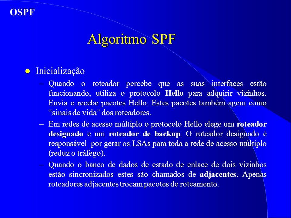Algoritmo SPF l Inicialização –Quando o roteador percebe que as suas interfaces estão funcionando, utiliza o protocolo Hello para adquirir vizinhos.