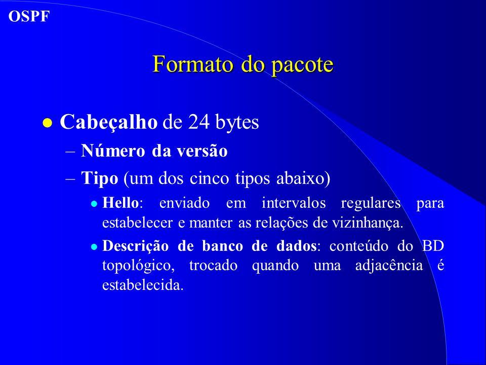 Formato do pacote l Cabeçalho de 24 bytes –Número da versão –Tipo (um dos cinco tipos abaixo) l Hello: enviado em intervalos regulares para estabelecer e manter as relações de vizinhança.