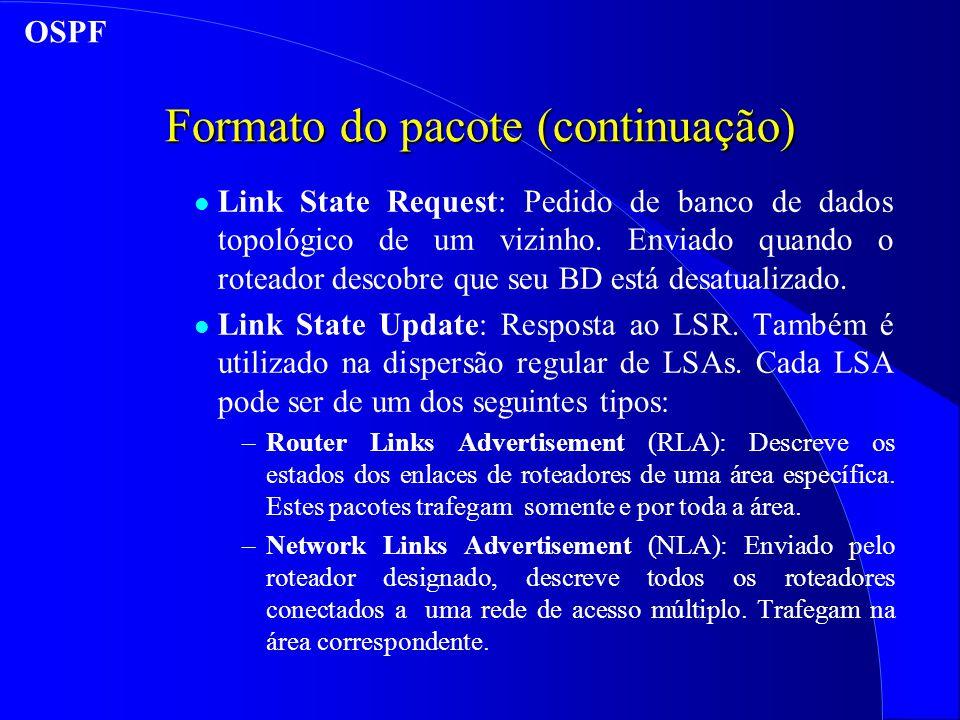 Formato do pacote (continuação) l Link State Request: Pedido de banco de dados topológico de um vizinho.