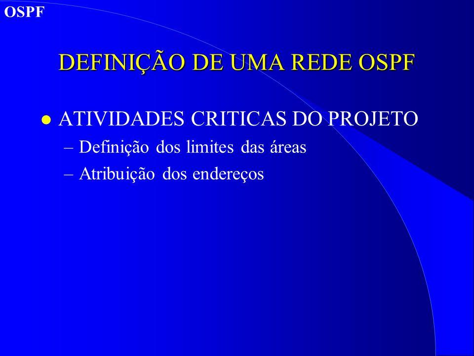 DEFINIÇÃO DE UMA REDE OSPF l ATIVIDADES CRITICAS DO PROJETO –Definição dos limites das áreas –Atribuição dos endereços OSPF
