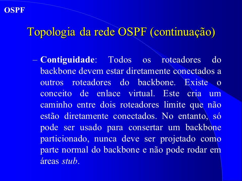 Topologia da rede OSPF (continuação) –Contiguidade: Todos os roteadores do backbone devem estar diretamente conectados a outros roteadores do backbone.