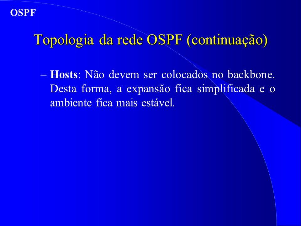 Topologia da rede OSPF (continuação) –Hosts: Não devem ser colocados no backbone.
