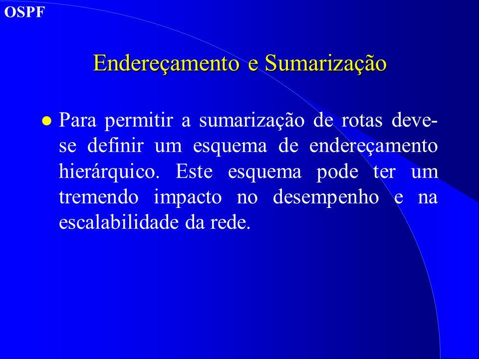 Endereçamento e Sumarização l Para permitir a sumarização de rotas deve- se definir um esquema de endereçamento hierárquico.