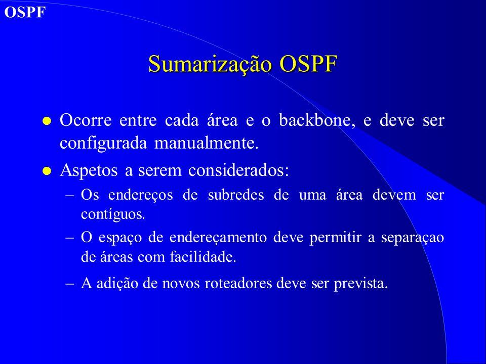 Sumarização OSPF l Ocorre entre cada área e o backbone, e deve ser configurada manualmente.