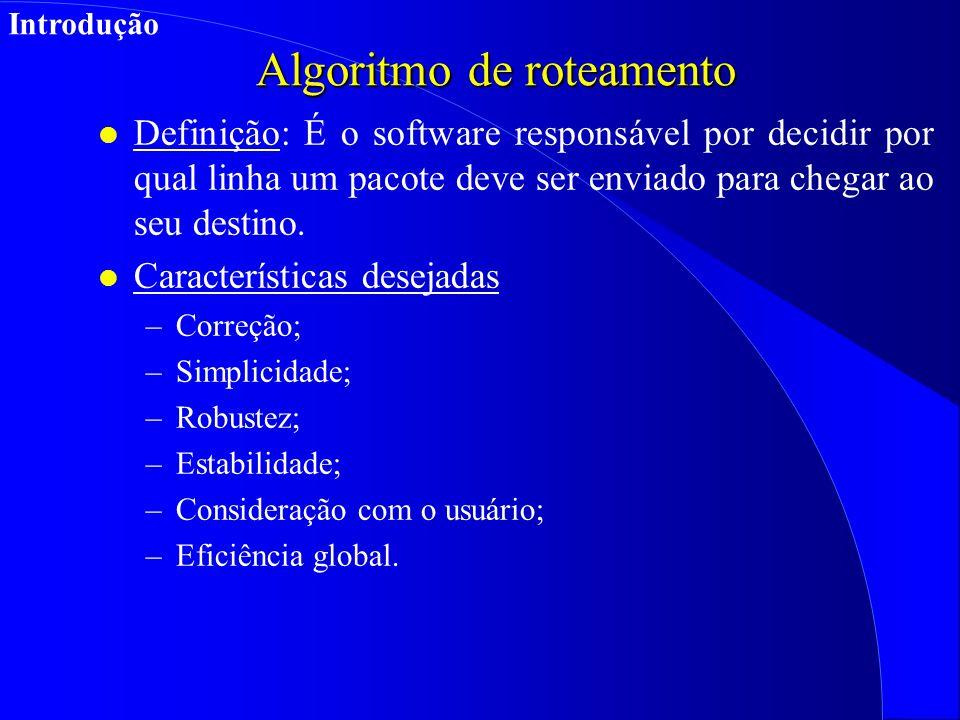 Algoritmo de roteamento l Definição: É o software responsável por decidir por qual linha um pacote deve ser enviado para chegar ao seu destino.