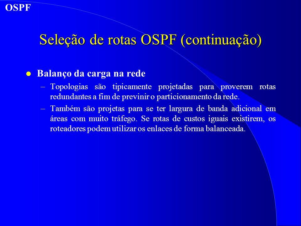 Seleção de rotas OSPF (continuação) l Balanço da carga na rede –Topologias são tipicamente projetadas para proverem rotas redundantes a fim de previnir o particionamento da rede.