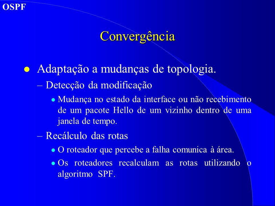 Convergência l Adaptação a mudanças de topologia.