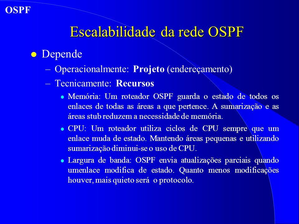 Escalabilidade da rede OSPF l Depende –Operacionalmente: Projeto (endereçamento) –Tecnicamente: Recursos l Memória: Um roteador OSPF guarda o estado de todos os enlaces de todas as áreas a que pertence.