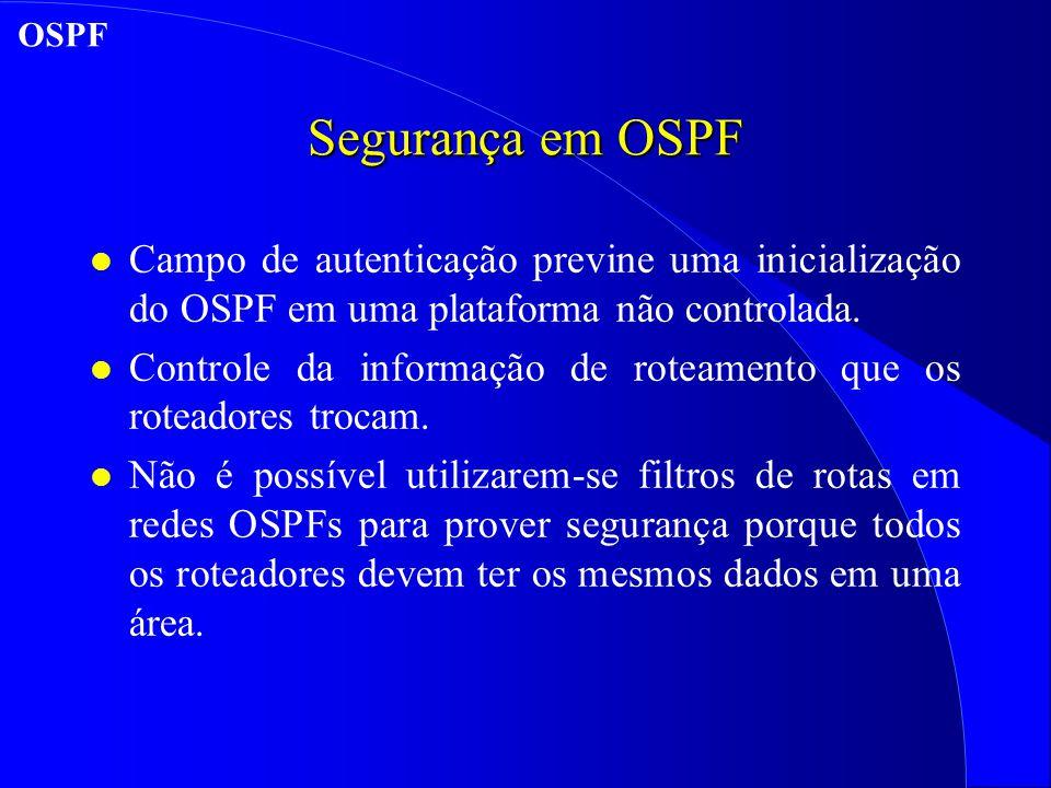 Segurança em OSPF l Campo de autenticação previne uma inicialização do OSPF em uma plataforma não controlada.
