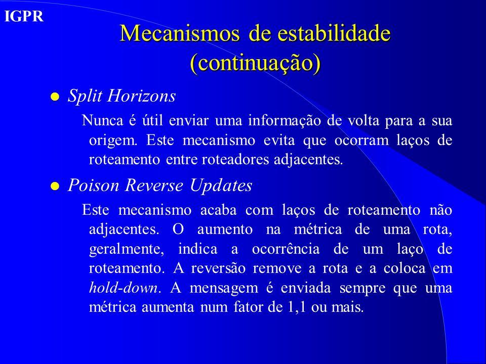 Mecanismos de estabilidade (continuação) l Split Horizons Nunca é útil enviar uma informação de volta para a sua origem.