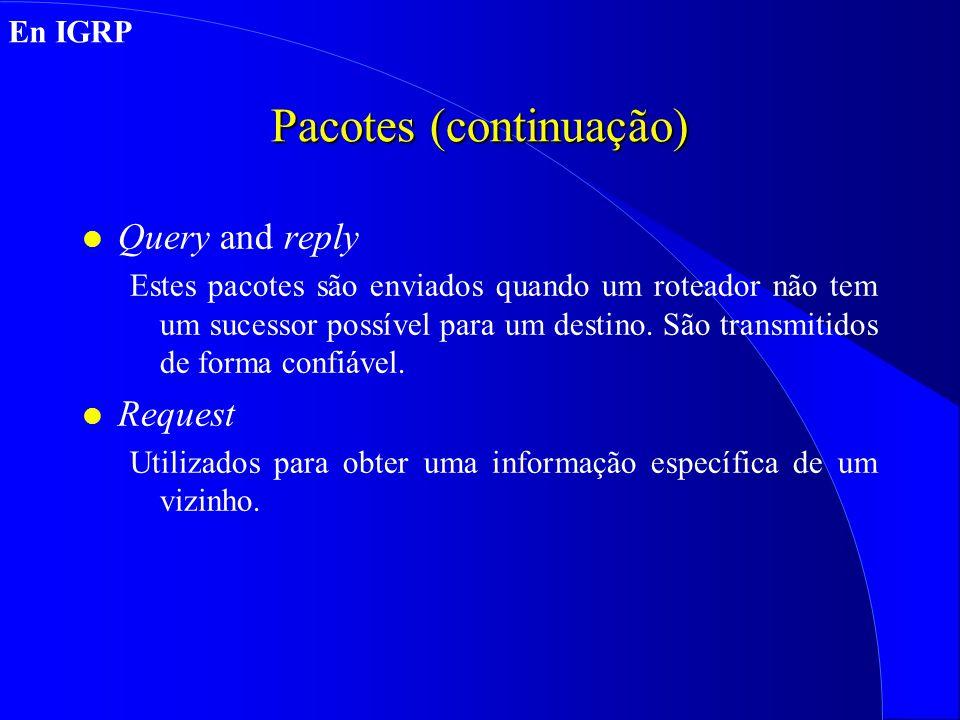Pacotes (continuação) l Query and reply Estes pacotes são enviados quando um roteador não tem um sucessor possível para um destino.