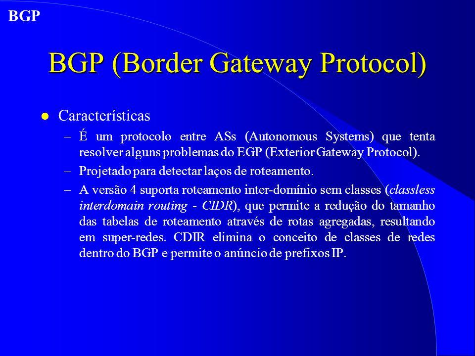 BGP (Border Gateway Protocol) l Características –É um protocolo entre ASs (Autonomous Systems) que tenta resolver alguns problemas do EGP (Exterior Gateway Protocol).