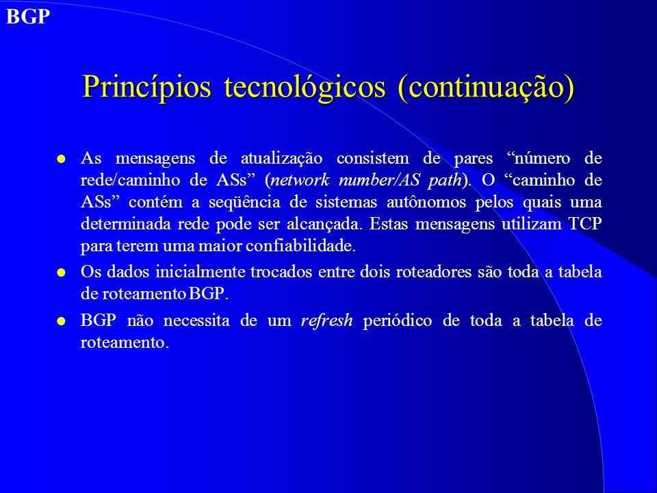 Princípios tecnológicos (continuação) l As mensagens de atualização consistem de pares número de rede/caminho de ASs (network number/AS path).