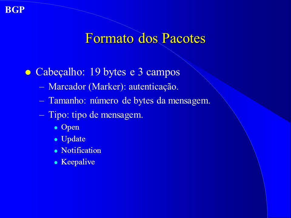 Formato dos Pacotes l Cabeçalho: 19 bytes e 3 campos –Marcador (Marker): autenticação.