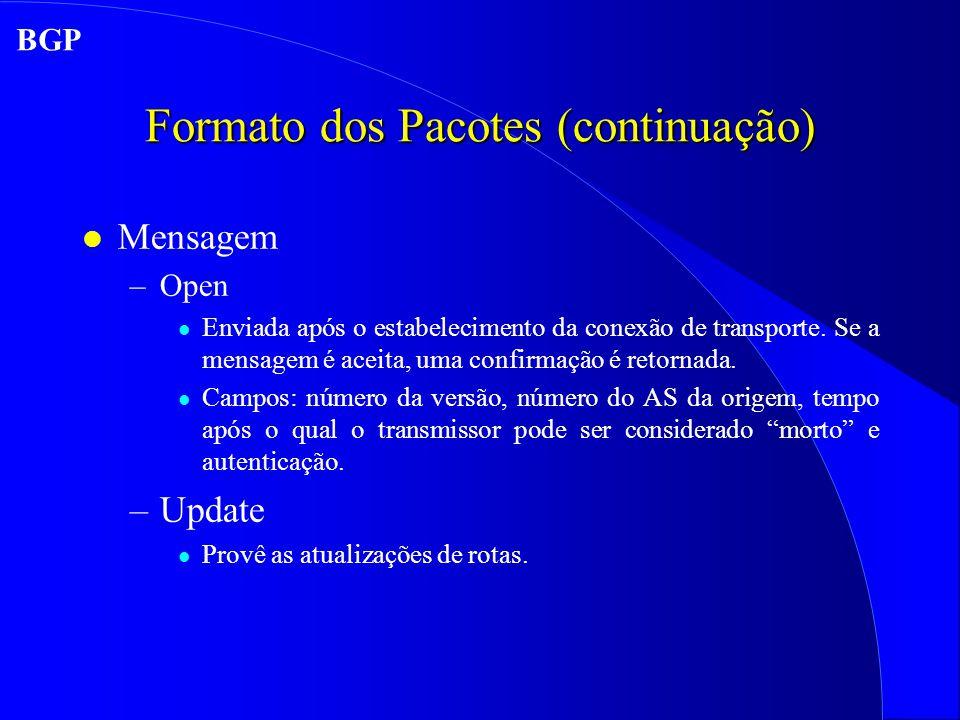 Formato dos Pacotes (continuação) l Mensagem –Open l Enviada após o estabelecimento da conexão de transporte.