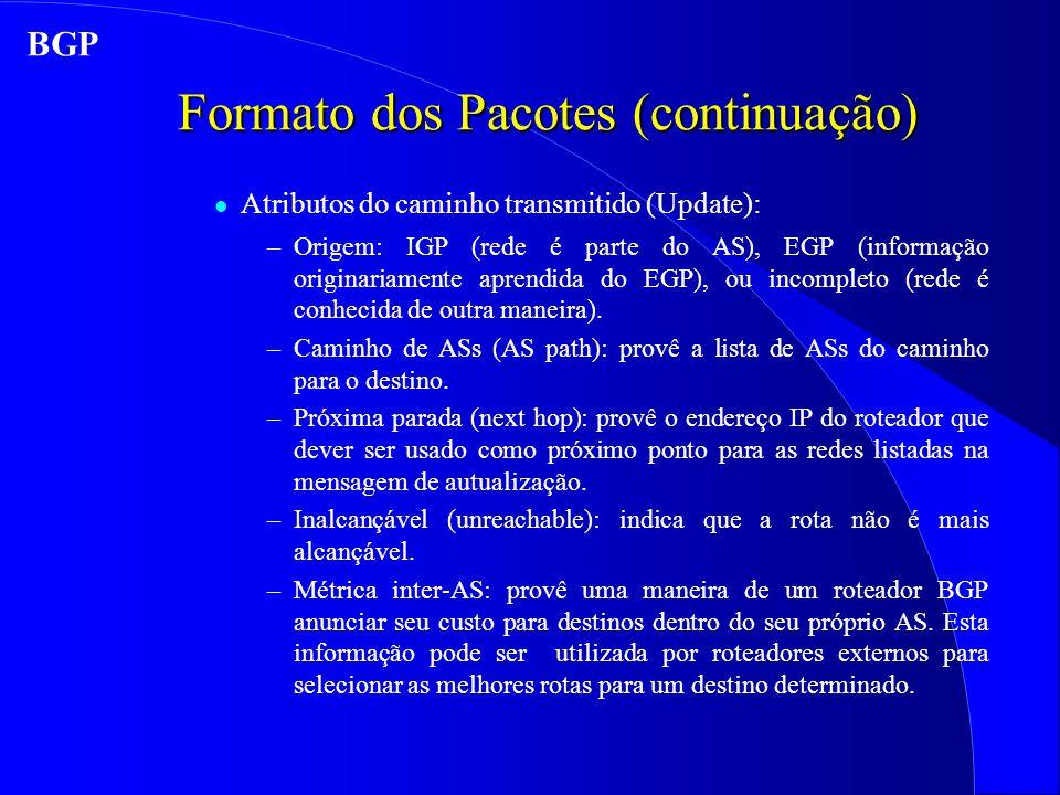 Formato dos Pacotes (continuação) l Atributos do caminho transmitido (Update): –Origem: IGP (rede é parte do AS), EGP (informação originariamente aprendida do EGP), ou incompleto (rede é conhecida de outra maneira).