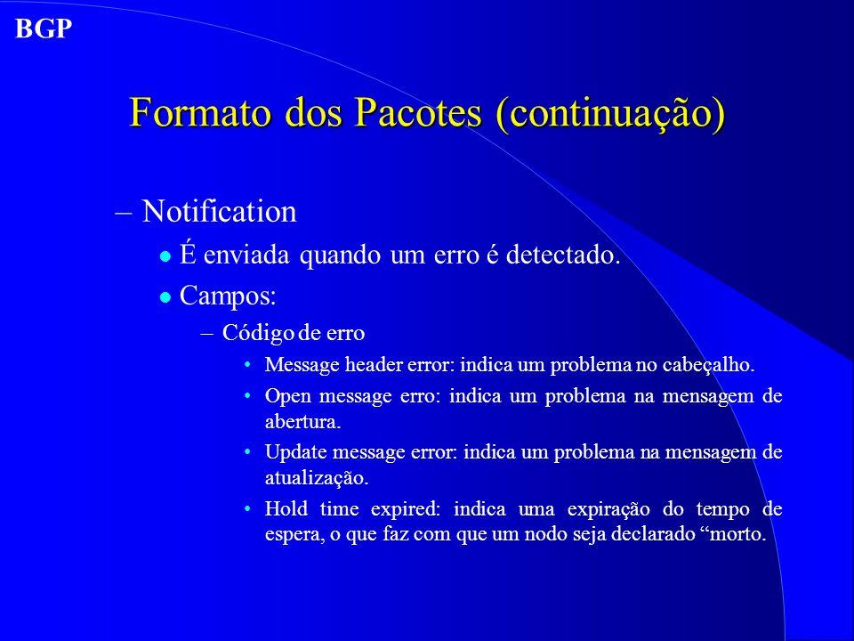 Formato dos Pacotes (continuação) –Notification l É enviada quando um erro é detectado.
