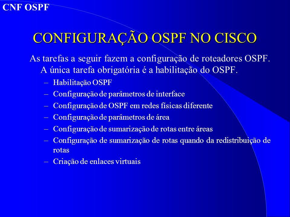 CONFIGURAÇÃO OSPF NO CISCO As tarefas a seguir fazem a configuração de roteadores OSPF.