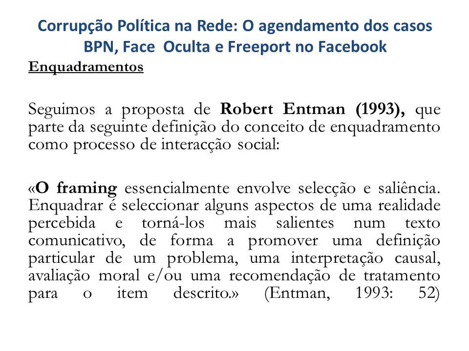 Enquadramentos Seguimos a proposta de Robert Entman (1993), que parte da seguinte definição do conceito de enquadramento como processo de interacção s