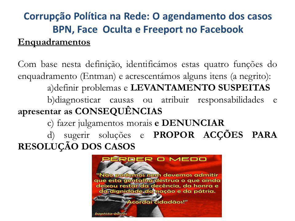 Corrupção Política na Rede: O agendamento dos casos BPN, Face Oculta e Freeport no Facebook Enquadramentos Com base nesta definição, identificámos est