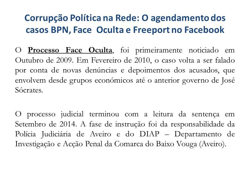 Corrupção Política na Rede: O agendamento dos casos BPN, Face Oculta e Freeport no Facebook O Processo Face Oculta, foi primeiramente noticiado em Out