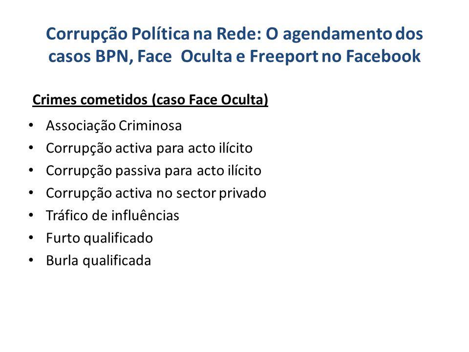 Corrupção Política na Rede: O agendamento dos casos BPN, Face Oculta e Freeport no Facebook Associação Criminosa Corrupção activa para acto ilícito Co