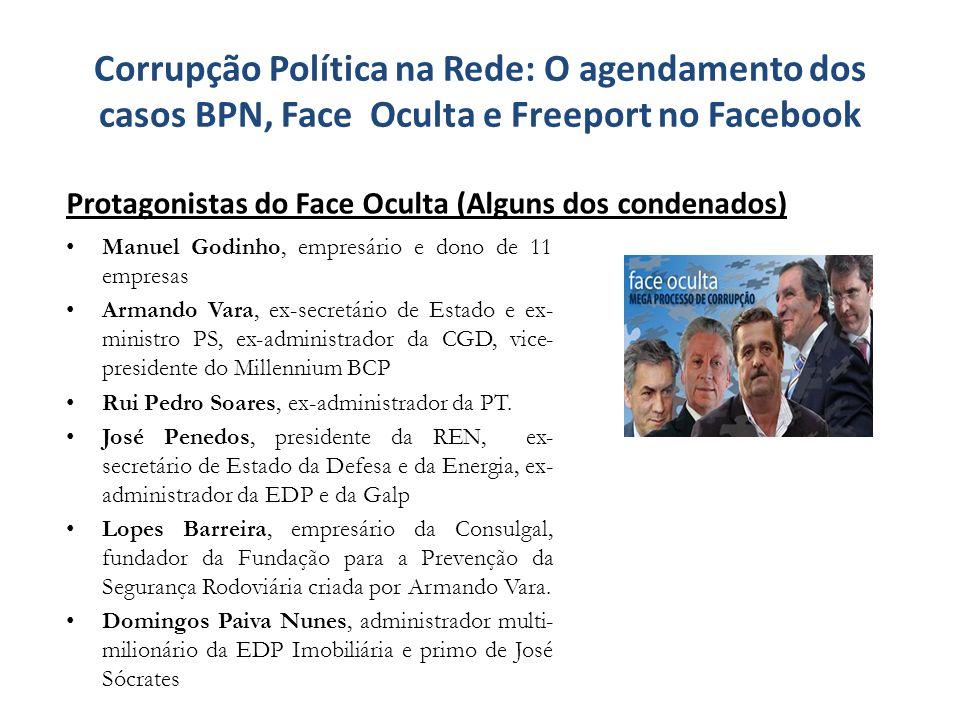 Corrupção Política na Rede: O agendamento dos casos BPN, Face Oculta e Freeport no Facebook Manuel Godinho, empresário e dono de 11 empresas Armando V