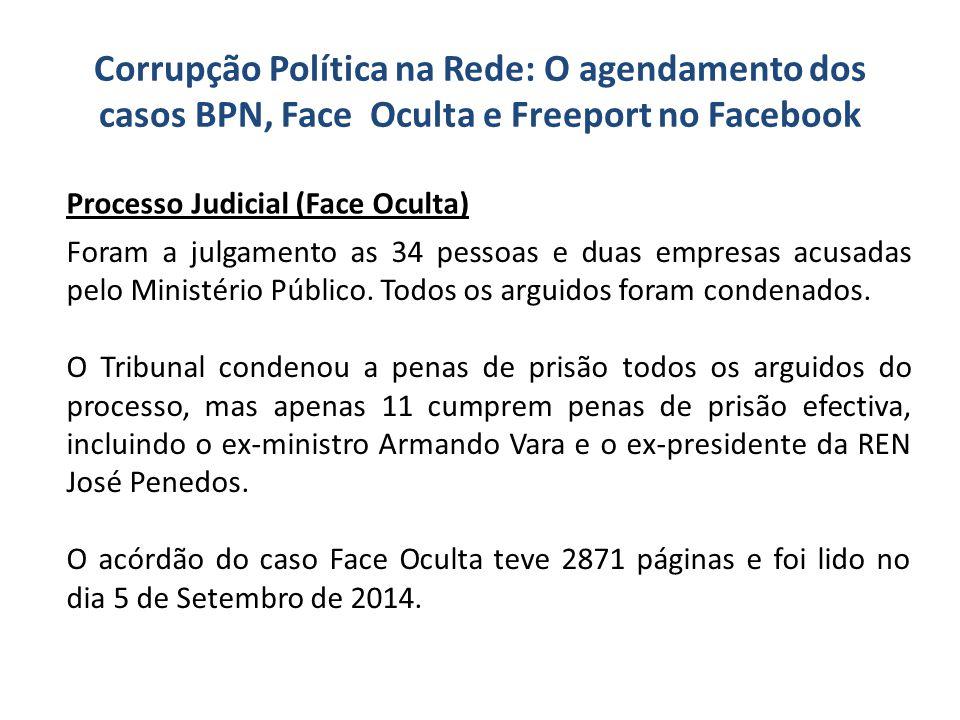 Corrupção Política na Rede: O agendamento dos casos BPN, Face Oculta e Freeport no Facebook Foram a julgamento as 34 pessoas e duas empresas acusadas
