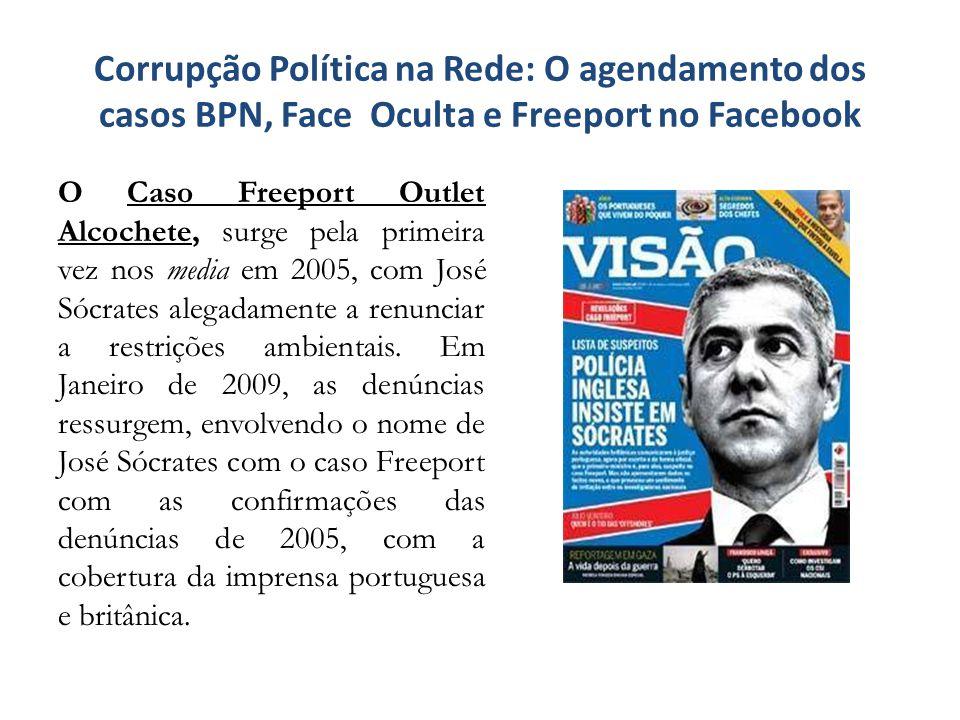Corrupção Política na Rede: O agendamento dos casos BPN, Face Oculta e Freeport no Facebook O caso Banco Português de Negócios (BPN) surge nos media em Outubro de 2008, quando são conhecidas publicamente as dificuldades de liquidez.