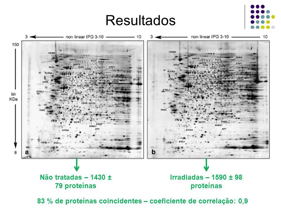 Resultados Não tratadas – 1430 ± 79 proteínas Irradiadas – 1590 ± 98 proteínas 83 % de proteínas coincidentes – coeficiente de correlação: 0,9