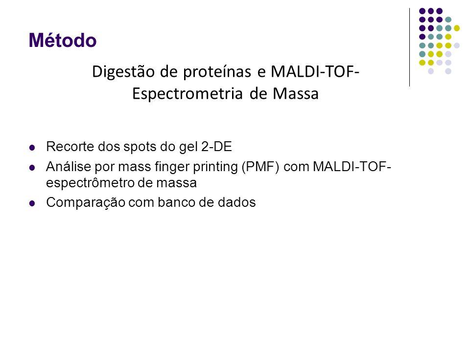Método Recorte dos spots do gel 2-DE Análise por mass finger printing (PMF) com MALDI-TOF- espectrômetro de massa Comparação com banco de dados Digestão de proteínas e MALDI-TOF- Espectrometria de Massa