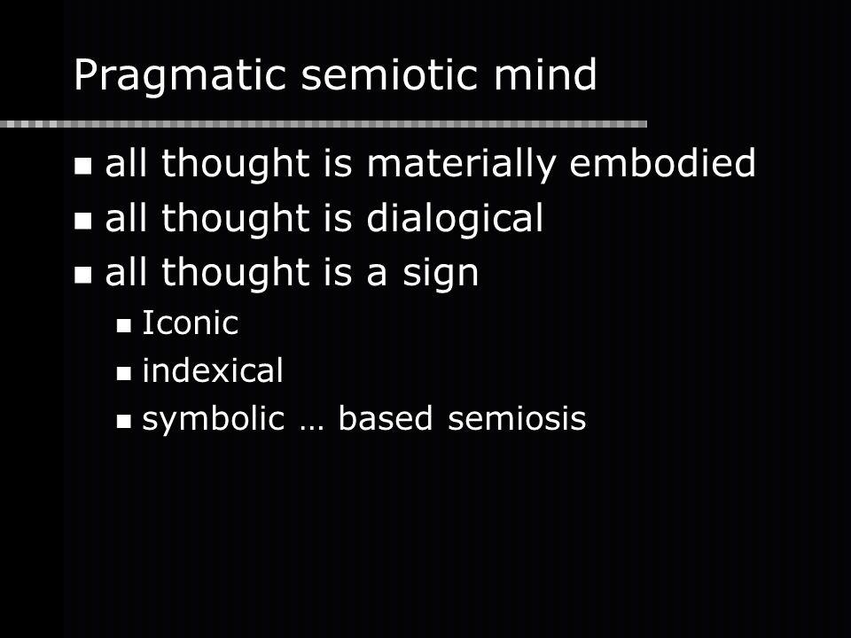 Pragmatic semiotic mind all thought is materially embodied all thought is dialogical all thought is a sign Iconic indexical symbolic … based semiosis