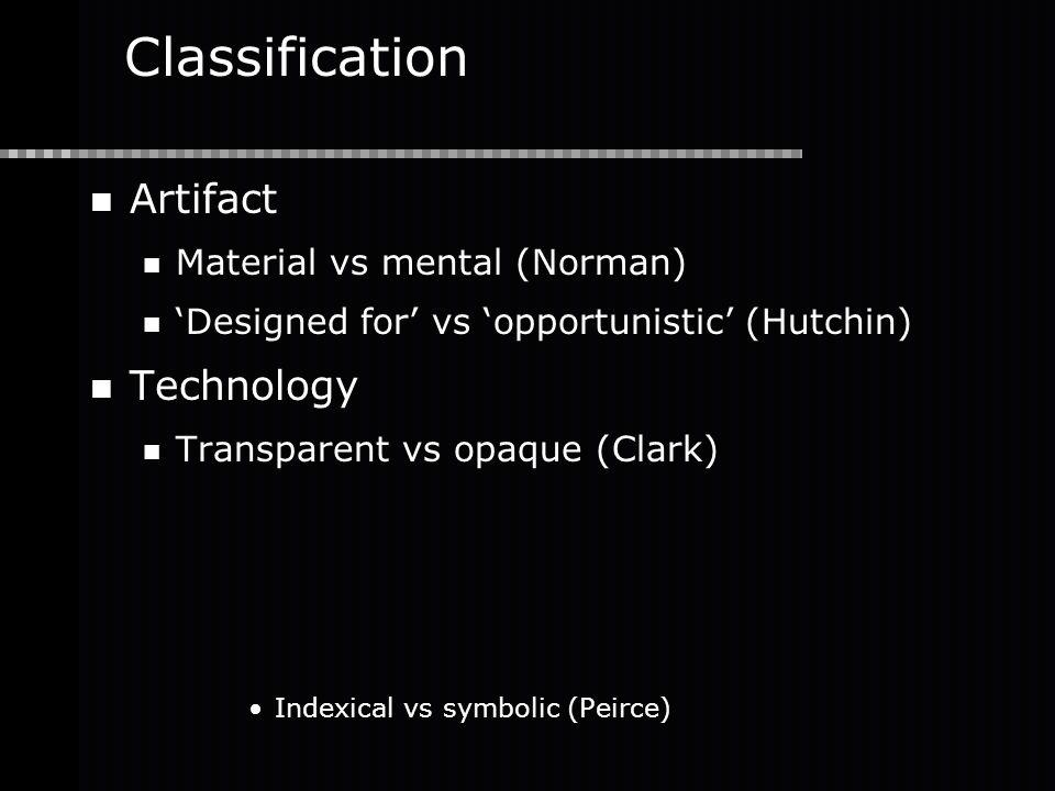 Classification Artifact Material vs mental (Norman) 'Designed for' vs 'opportunistic' (Hutchin) Technology Transparent vs opaque (Clark) Indexical vs