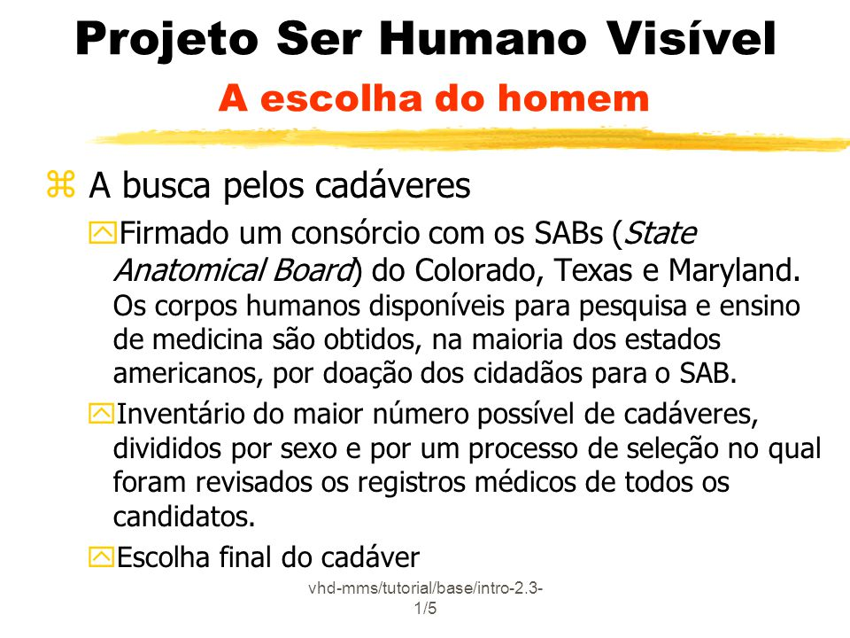 vhd-mms/tutorial/base/intro-2.3- 1/5 Projeto Ser Humano Visível A escolha do homem z A busca pelos cadáveres yFirmado um consórcio com os SABs (State Anatomical Board) do Colorado, Texas e Maryland.