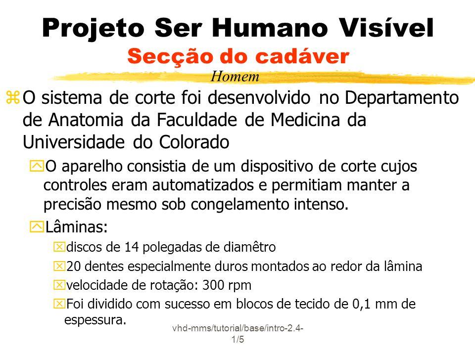 vhd-mms/tutorial/base/intro-2.4- 1/5 Projeto Ser Humano Visível Secção do cadáver zO sistema de corte foi desenvolvido no Departamento de Anatomia da