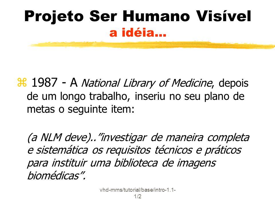 vhd-mms/tutorial/base/intro-1.1- 1/2 Projeto Ser Humano Visível a idéia... z 1987 - A National Library of Medicine, depois de um longo trabalho, inser