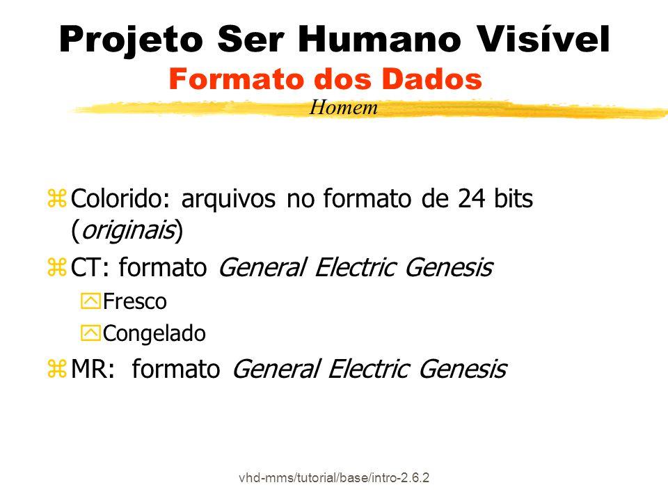 vhd-mms/tutorial/base/intro-2.6.2 Projeto Ser Humano Visível Formato dos Dados zColorido: arquivos no formato de 24 bits (originais) zCT: formato General Electric Genesis yFresco yCongelado zMR: formato General Electric Genesis Homem