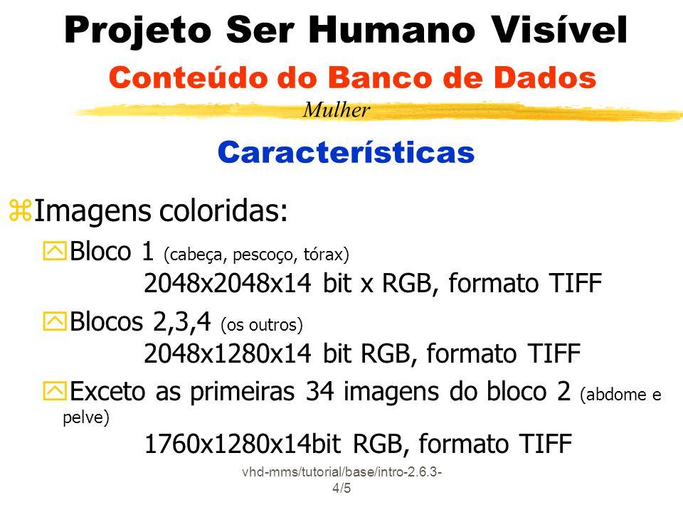 vhd-mms/tutorial/base/intro-2.6.3- 4/5 Projeto Ser Humano Visível Conteúdo do Banco de Dados Características zImagens coloridas: yBloco 1 (cabeça, pescoço, tórax) 2048x2048x14 bit x RGB, formato TIFF yBlocos 2,3,4 (os outros) 2048x1280x14 bit RGB, formato TIFF yExceto as primeiras 34 imagens do bloco 2 (abdome e pelve) 1760x1280x14bit RGB, formato TIFF Mulher