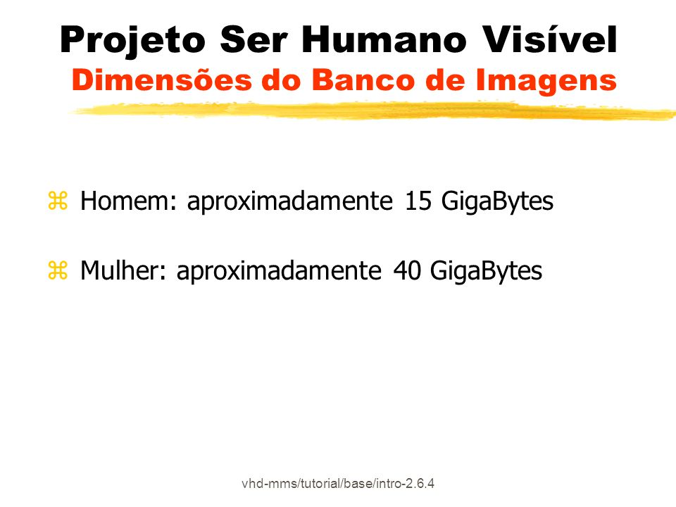 vhd-mms/tutorial/base/intro-2.6.4 Projeto Ser Humano Visível Dimensões do Banco de Imagens z Homem: aproximadamente 15 GigaBytes z Mulher: aproximadam
