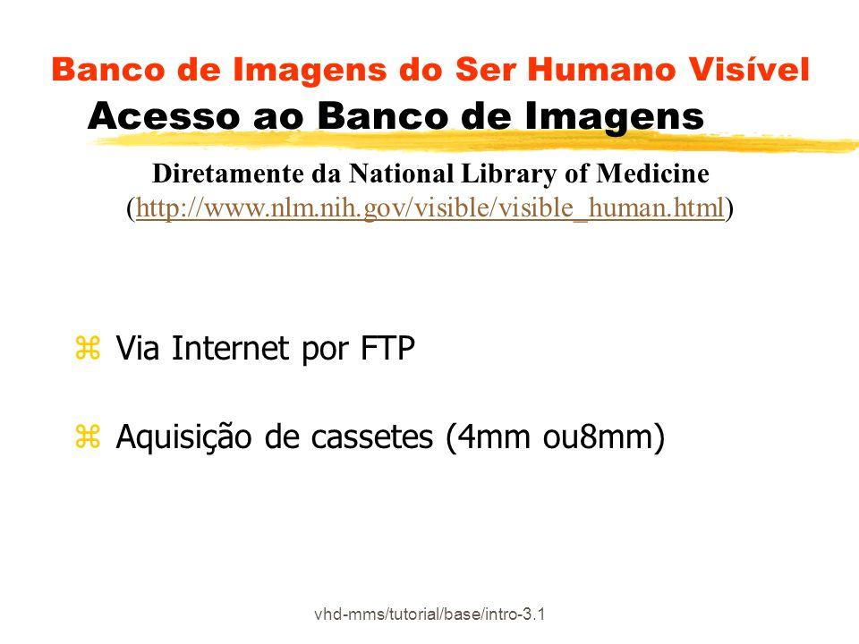 vhd-mms/tutorial/base/intro-3.1 Banco de Imagens do Ser Humano Visível Acesso ao Banco de Imagens z Via Internet por FTP z Aquisição de cassetes (4mm