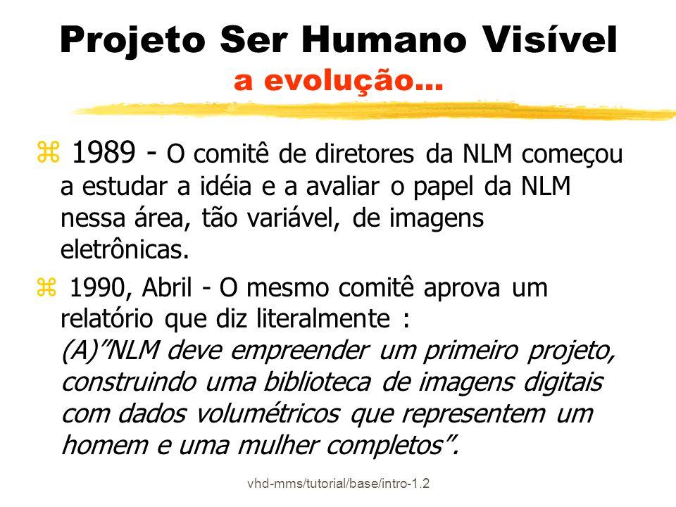 vhd-mms/tutorial/base/intro-2.6.3- 3/5 Projeto Ser Humano Visível Conteúdo do Banco de Dados Imagens Coloridas zResolução: voxel 0,33mm (mesmo espaçamento nas três dimensões) zFormato Fotográfico: TIFF (com 14 bits significativos por canal RGB) zFormato das Imagens: formato original de 24 bits (8 bits por canal RGB) Mulher