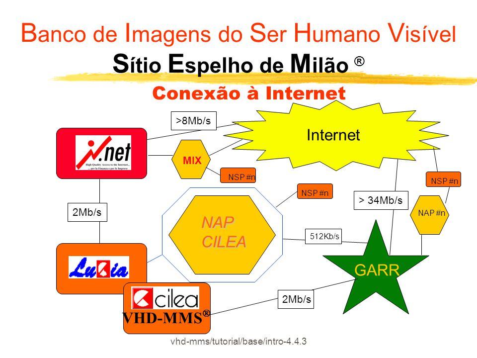 vhd-mms/tutorial/base/intro-4.4.3 Internet VHD-MMS  GARR NAP #n 2Mb/s 512Kb/s NSP #n NAP CILEA MIX NSP #n > 34Mb/s >8Mb/s 2Mb/s B anco de I magens do S er H umano V isível S ítio E spelho de M ilão ® Conexão à Internet