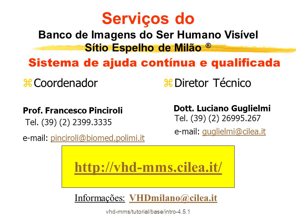 vhd-mms/tutorial/base/intro-4.5.1 zCoordenador Prof. Francesco Pinciroli Tel. (39) (2) 2399.3335 e-mail: pinciroli@biomed.polimi.itpinciroli@biomed.po