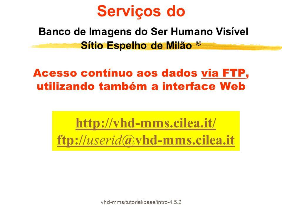 vhd-mms/tutorial/base/intro-4.5.2 http://vhd-mms.cilea.it/ ftp://userid@vhd-mms.cilea.it FTP Serviços do Banco de Imagens do Ser Humano Visível Sítio
