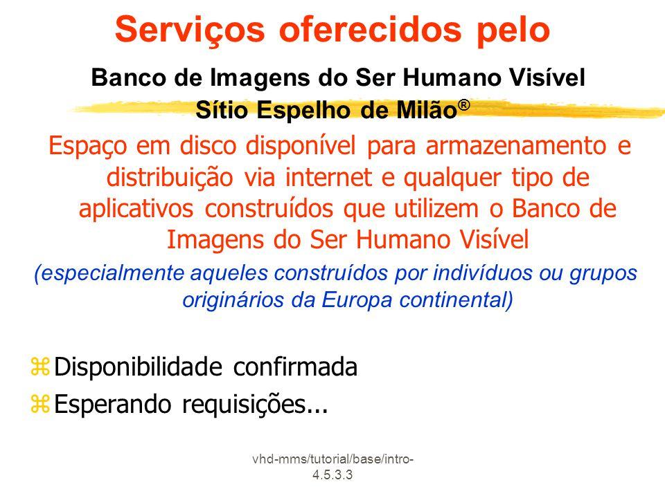 vhd-mms/tutorial/base/intro- 4.5.3.3 Serviços oferecidos pelo Banco de Imagens do Ser Humano Visível Sítio Espelho de Milão ® Espaço em disco disponív
